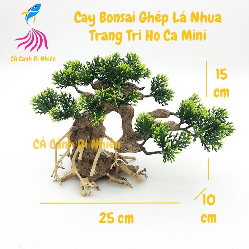 Cây lũa bonsai ghép lá nhựa giả trang trí hồ bể cá