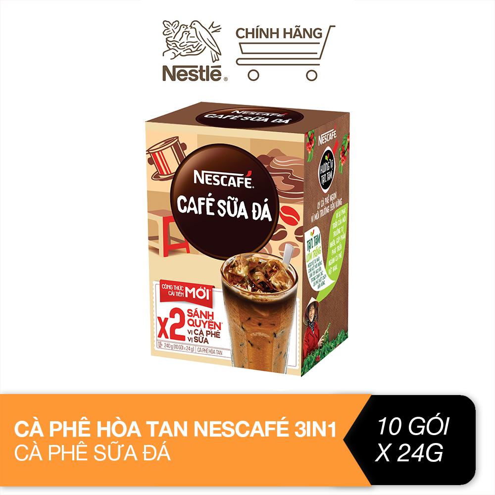 Cà phê hòa tan Nescafé 3in1 cà phê sữa đá (Hộp 10 gói x 24 g)