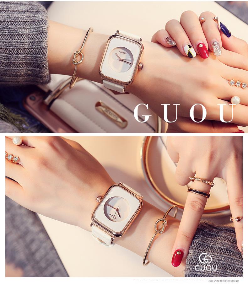 Đồng hồ Nữ GUOU Dây Mềm Mại đeo rất êm tay, Chống Nước Tốt, Bảo Hành Máy 12 Tháng Toàn Quốc 8