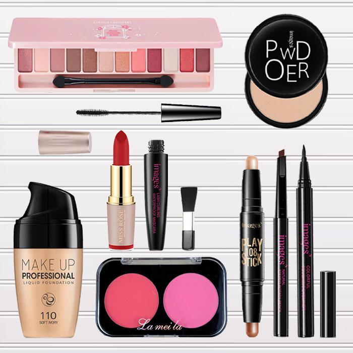 Bộ trang điểm chuyên nghiệp 9 món từ a đến z bộ makeup cá nhân set trang điểm đầy đủ Kem nền + Phấn phủ + Phấn mắt + Phấn má hồng + Bút tạo khối + Chuốt mi + Chì kẻ mày + Bút dạ + Son lì IW-BT393