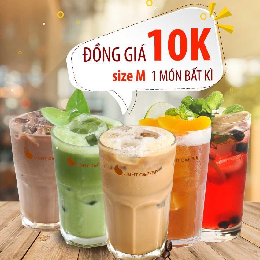 HCM - Evoucher một ly thức uống bất kỳ giá 10k (size M), áp dụng tại Light Coffee Official Store