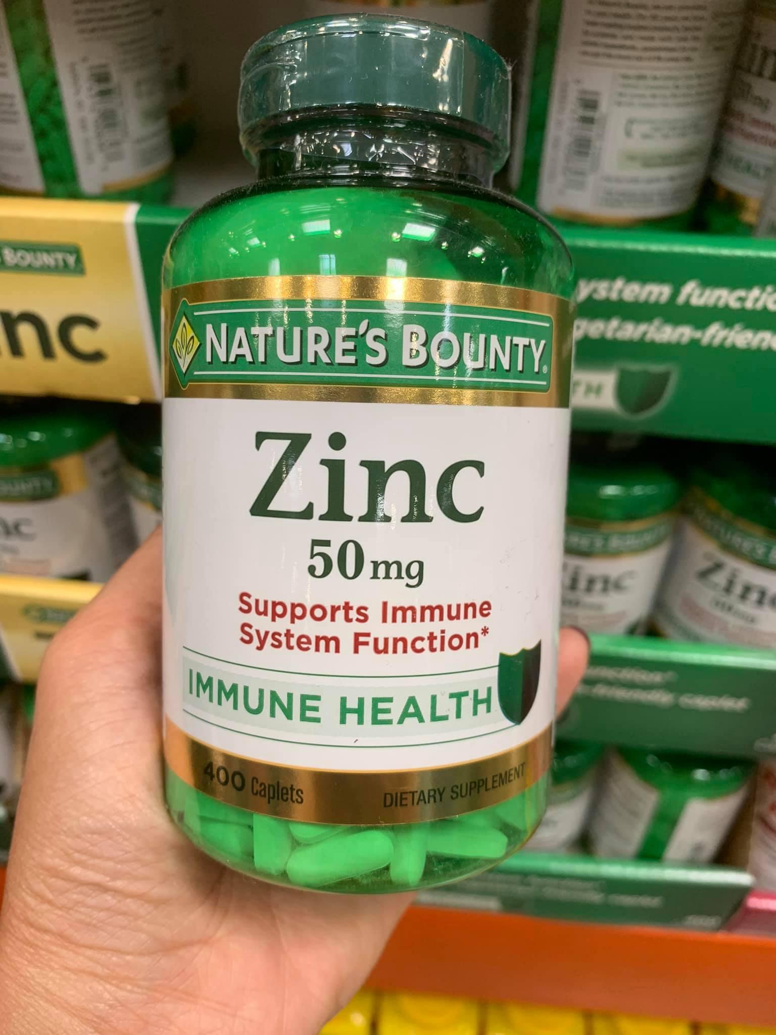 Viên Uống Bổ Sung Kẽm Nature's Bounty Zinc 50mg 400viên/hộp Hàng Mỹ
