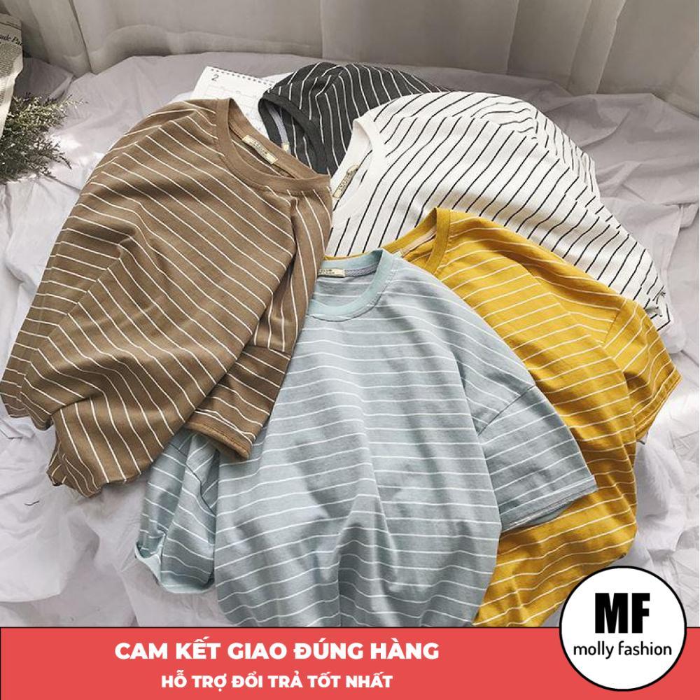 Áo phông, áo thun nam nữ form rộng tay lỡ Unisex Giấu Quần sọc ngang nhỏ Freesize 70kg Molly Fashion ML147