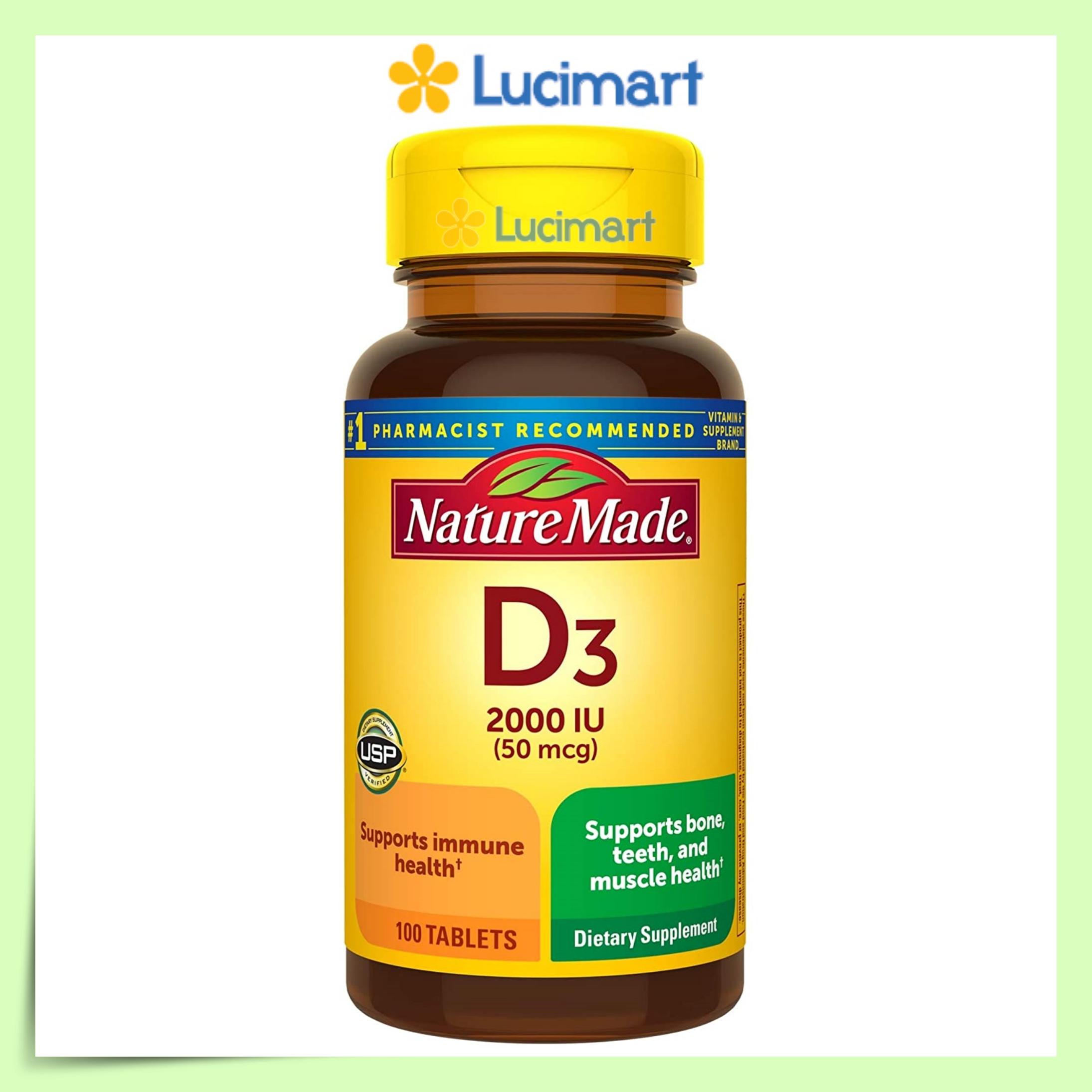 Viên uống Vitamin D3 Nature Made Vitamin D3 2000 IU 50mcg hũ 100 viênvà 1000 IU 25mcg hũ 650 viên(USA)