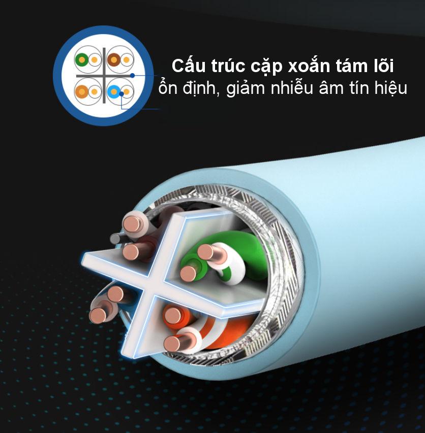 Cáp mạng S/FTP CAT6 cao cấp dài 305m màu xanh da trời UGREEN NW124 70317