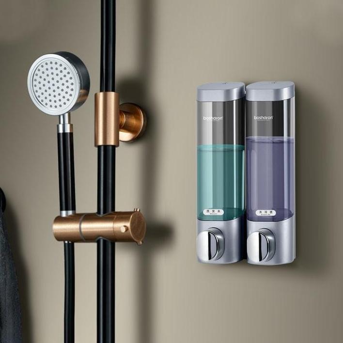 Bộ 2 Hộp đựng nước rửa tay, sữa tắm và dầu gội gắn tường cao cấp loại 2 ngăn tiện dụng
