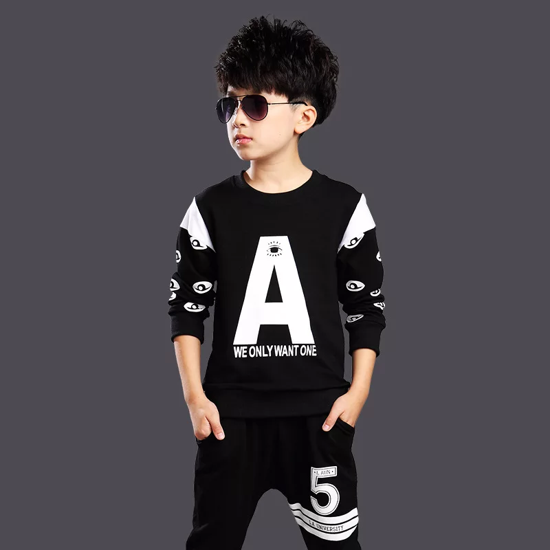 Set bộ quần áo chữ A dành cho bé trai 18-30kg chất vải da cá dày dăn kiểu dáng năng động