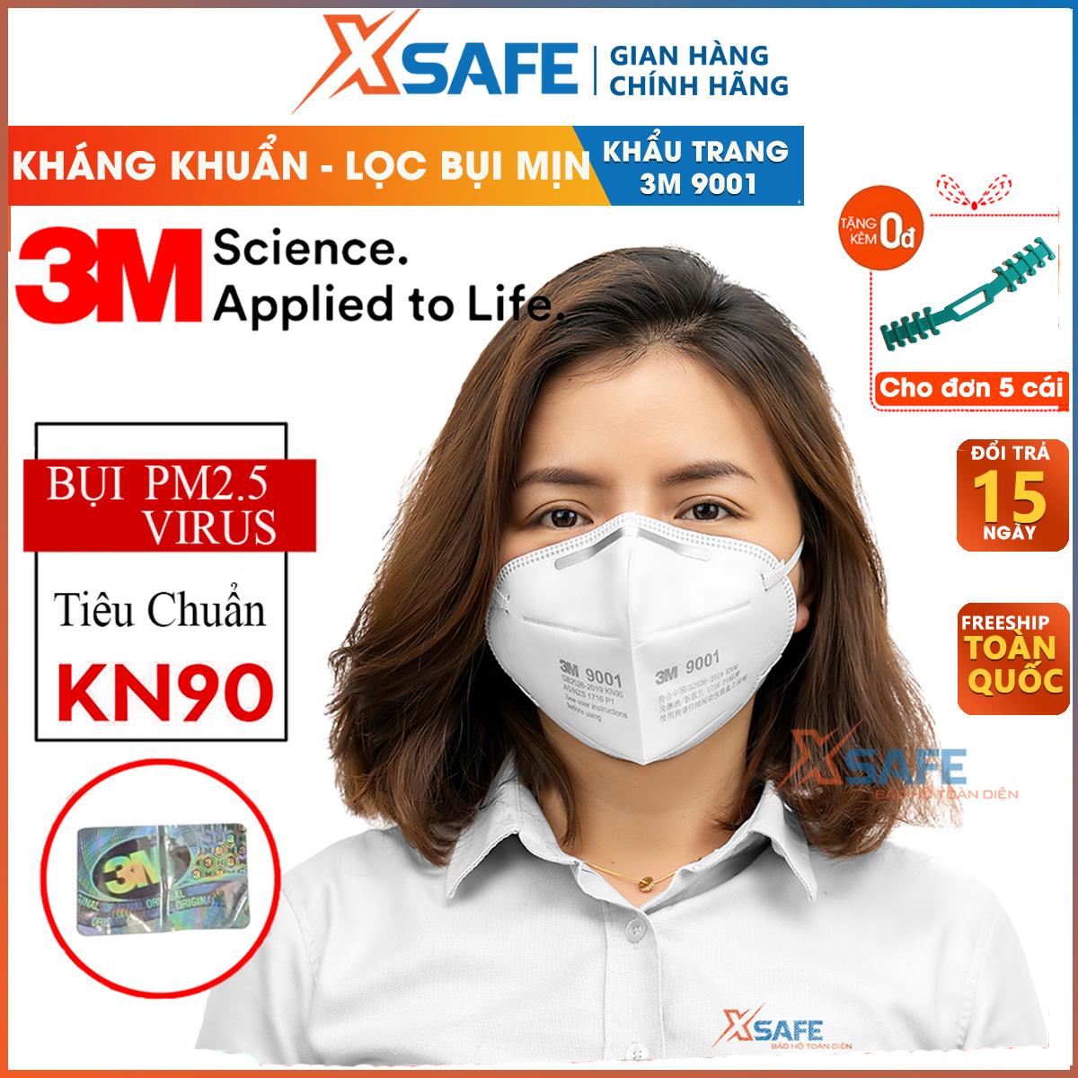 Khẩu trang y tế 3M 9001A Khẩu trang 3D 4 lớp kháng viruss, chống bụi mịn, phòng dịch, khẩu trang 3M vải không dệt chính hãng - sản phẩm chính hãng [XSAFE]