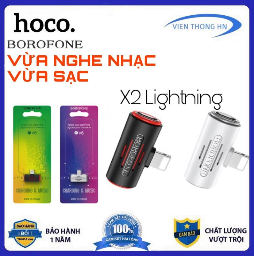 Đầu chuyển Jack chuyển adapter hoco borofone bv6 Cho Tai Nghe + Sạc Điện Thoại 2 Cổng Lightning Cho IPhone vừa sạc vừa nghe nhạc