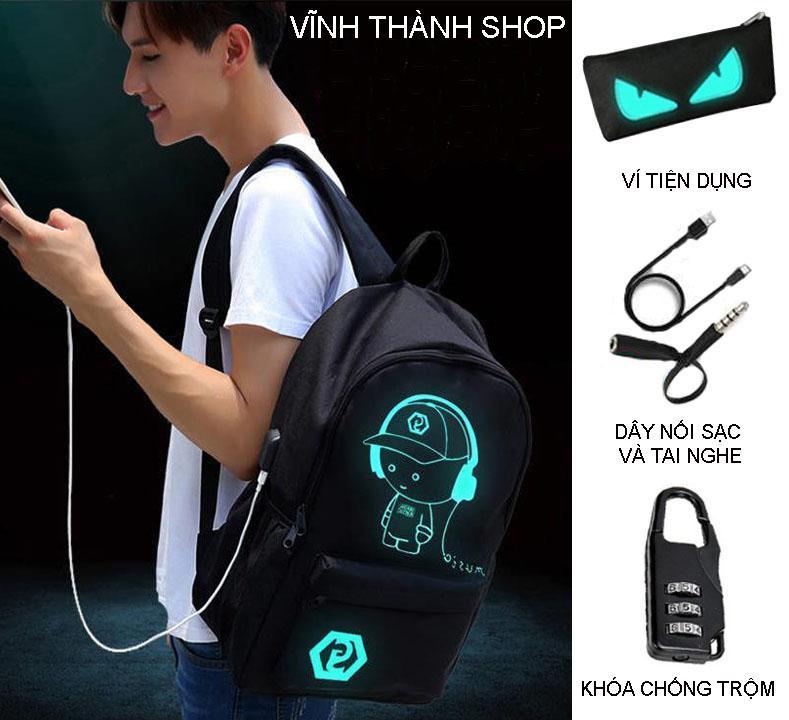 Hình ảnh [ Tặng dây nối tai nghe, khóa chống trộm và ví ] Balo phát sáng, Balo dạ quang, Balo phát quang hình Music Boy tích hợp cổng sạc USB