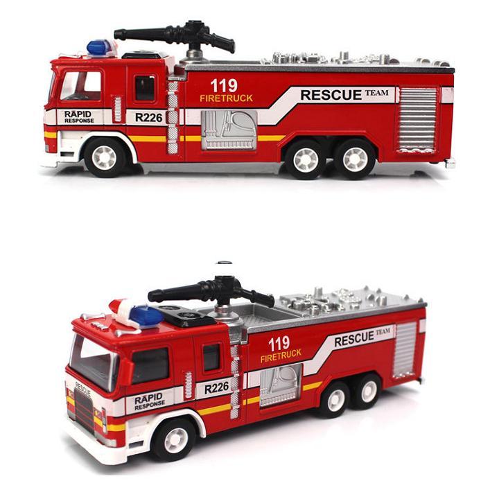 Đồ chơi trẻ em Xe cứu hỏa mô hình bằng sắt có âm thanh và đèn tỉ lệ 1:32 xe chạy cót