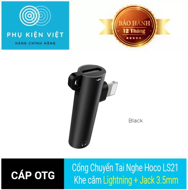 Cổng Chuyển Tai Nghe Hoco LS21 Khe Cắm Lightning + Jack 3.5mm