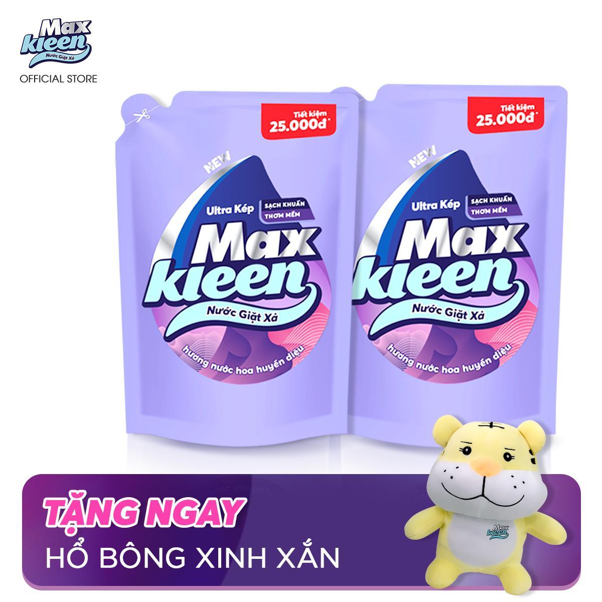 Combo 2 Túi Nước Giặt Xả Maxkleen Hương Nước Hoa Huyền Diệu (2.4kg) + Tặng Hổ bông