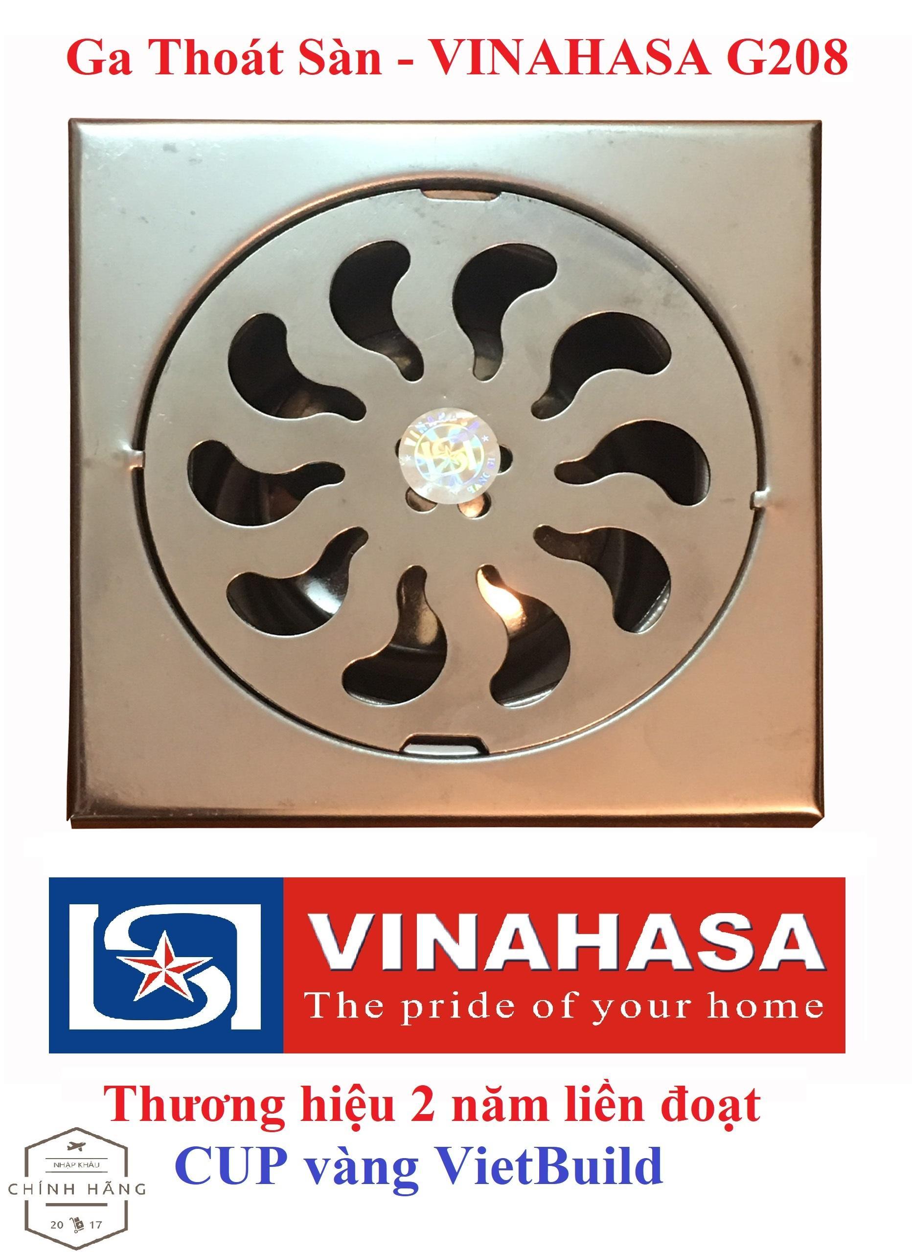 Ga thoát sàn – phễu thoát sàn INOX Vinahasa 10x10cm Phi 75mm Chống Hôi – Lọc Rác 2 lớp hiệu quả G208 (Bảo hành 12 tháng – 1 đổi 1 trong 7 ngày)