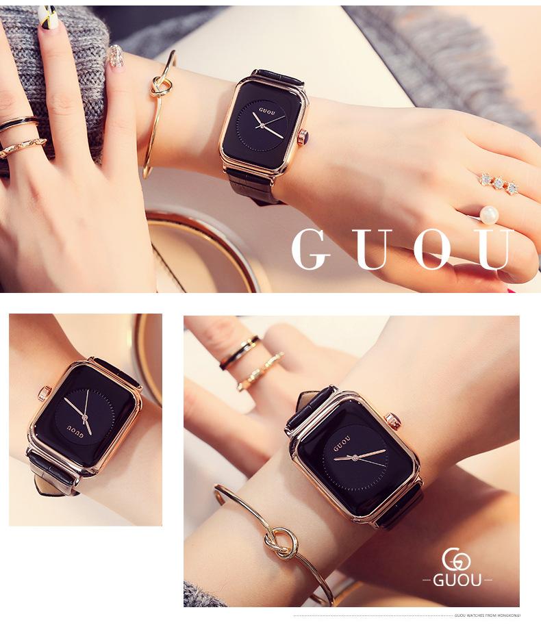 Đồng hồ Nữ GUOU Dây Mềm Mại đeo rất êm tay, Chống Nước Tốt, Bảo Hành Máy 12 Tháng Toàn Quốc 12