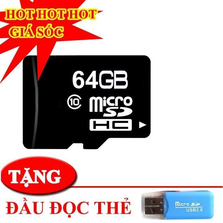 Thẻ nhớ 64gb microsc hd chuyên lưu trữ cho điện thoại camera đài nghe nhạc.. BẢO HÀNH 1 ĐỔI 1 + TẶNG ĐẦU ĐỌC THẺ XỊN