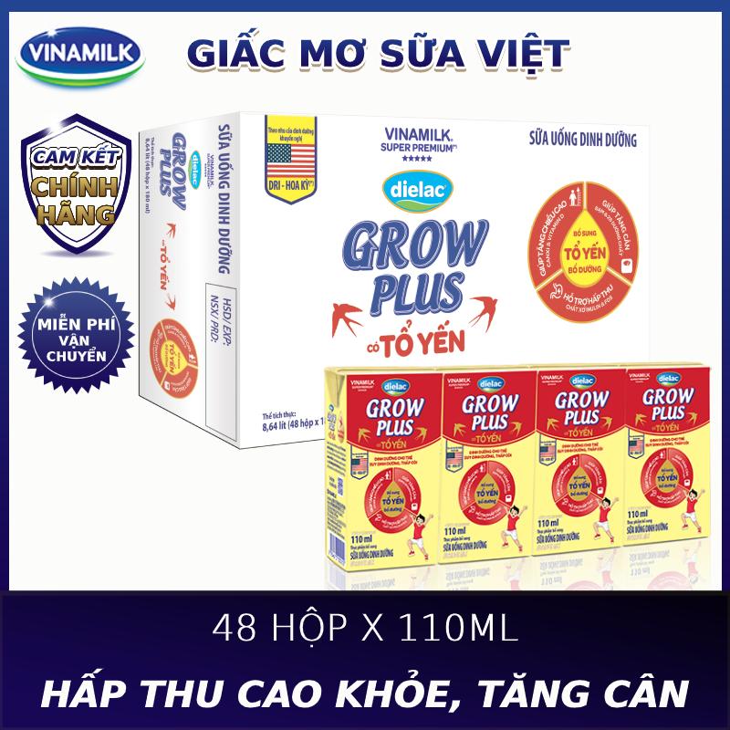 Thùng 48 hộp Sữa bột pha sẵn Dielac Grow Plus có tổ yến 110ml - Lốc 4 hộp x 110ml