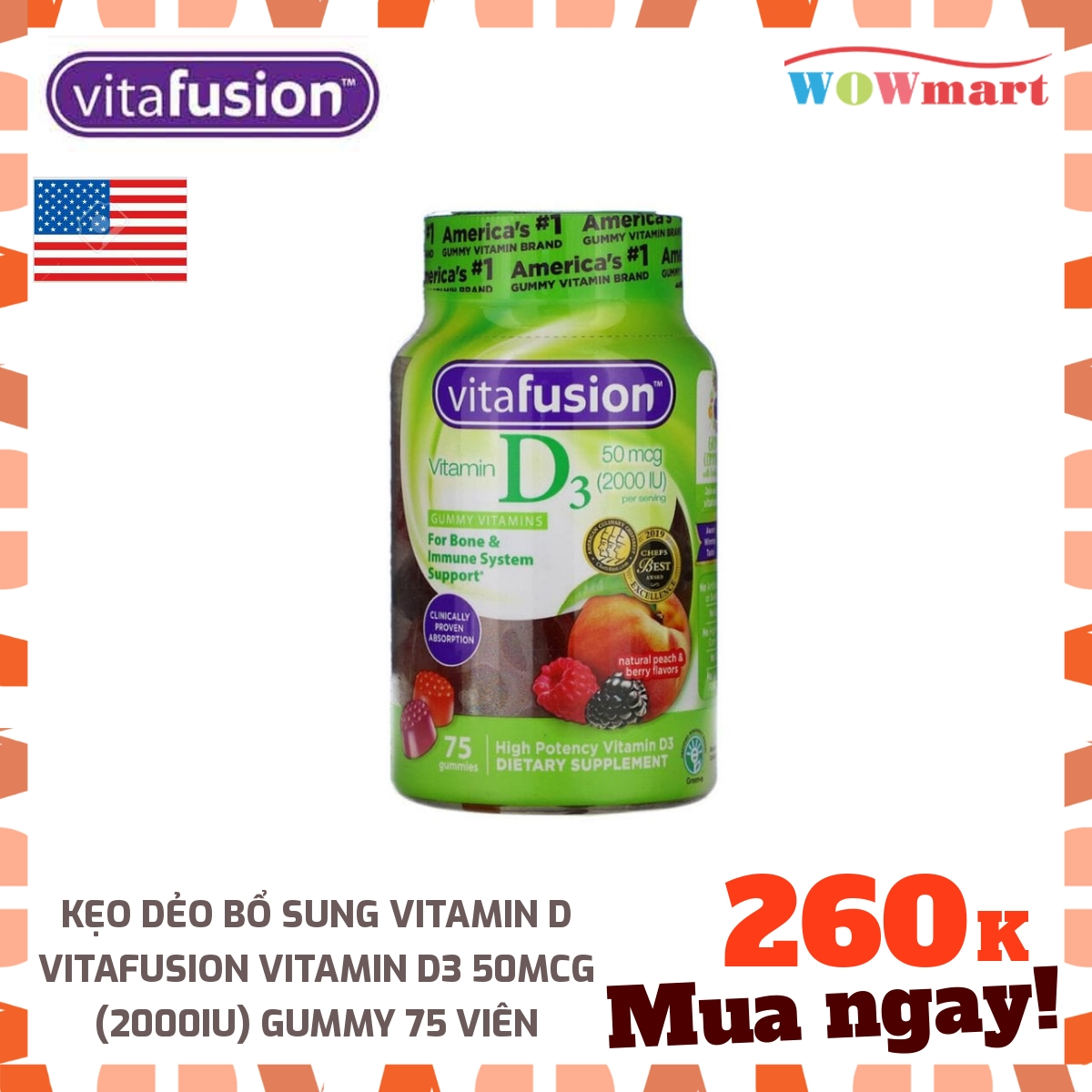 Kẹo dẻo bổ sung Vitamin D Vitafusion Vitamin D3 50mcg (2000IU) Gummy 75 viên - [MỸ]