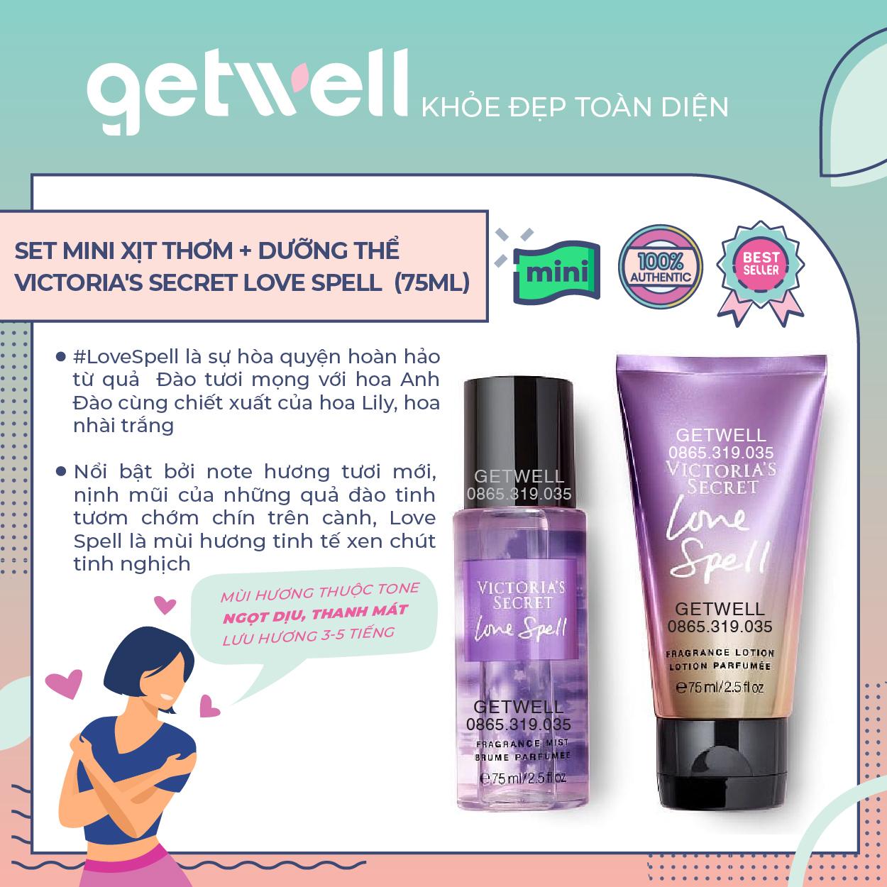 Set Xịt thơm + Dưỡng thể Victoria's Secret Mini Fragrance Mist & Lotion Giftset Love Spell (75ml x2)
