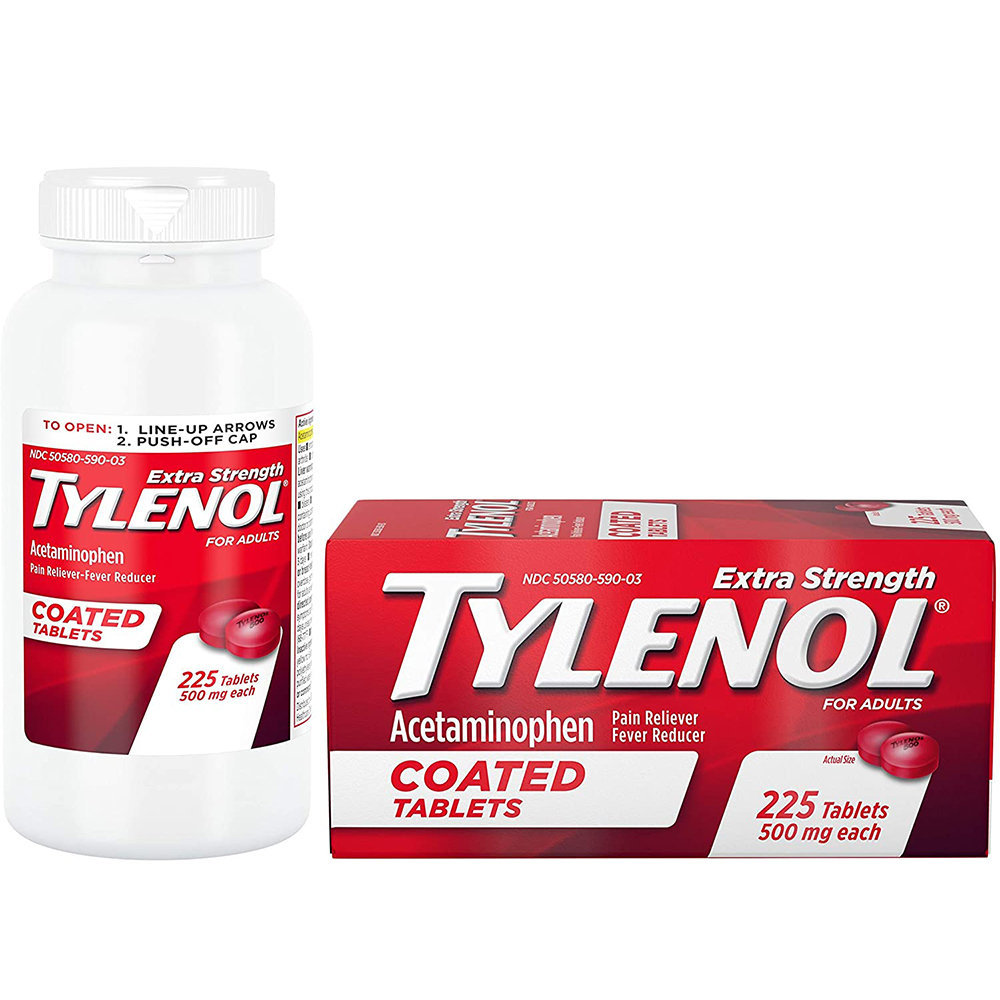 Tylenol Acetaminophen Extra Strength 500mg 225 Coated Tablets - Giảm Đau Hạ Sốt