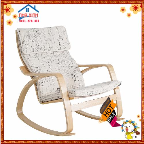 Ghế thư giãn Poang, ghế lắc, ghế bập bênh có đế chân khung gỗ chắc chắn, an toàn, nệm mút dầy êm ái, bọc vải thoáng mát