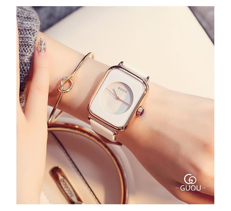 Đồng hồ Nữ GUOU Dây Mềm Mại đeo rất êm tay, Chống Nước Tốt, Bảo Hành Máy 12 Tháng Toàn Quốc 7