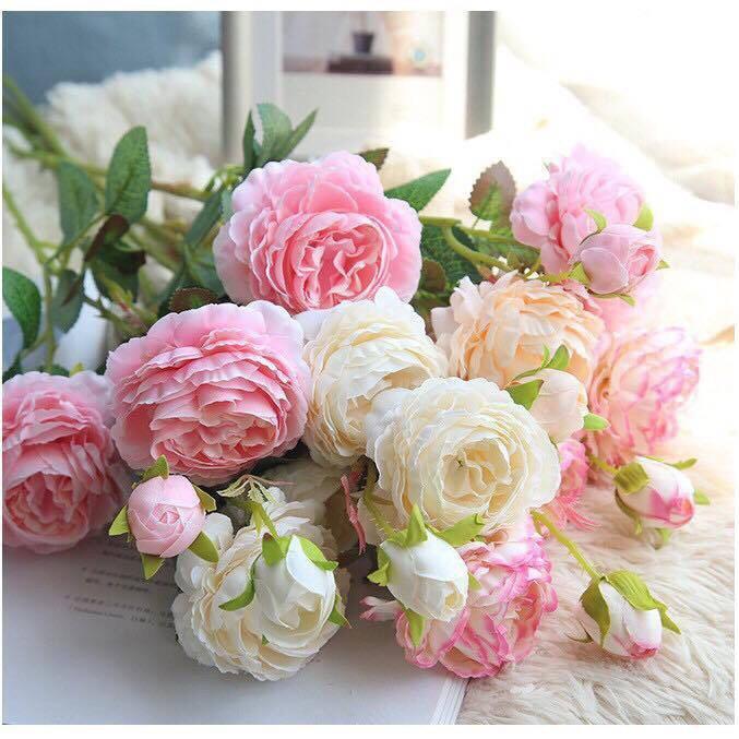 Combo 5 cành hoa mẫu đơn cao cấp cành 3 bông siêu đẹp trang trí phòng khách - Hoa lụa - Hoa giả trang trí nội thất, tiệc cưới, sự kiện