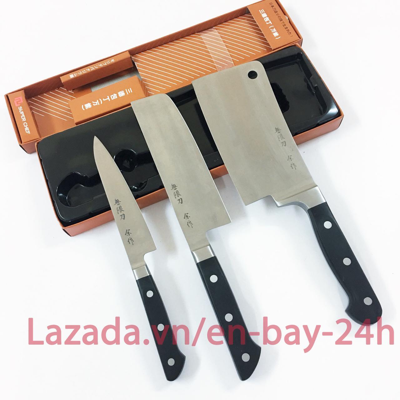 Bộ 3 Dao bếp cao cấp Super Chef Tiêu chuẩn Nhật Bản có Dao chặt xương nhỏ (bảo hành 12 tháng) - GAF