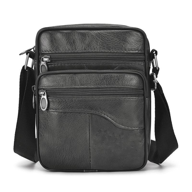 Túi đeo da bò thật màu đen cao cấp- mẫu nhỏ gọn bền đẹp thích hợp cho người hay phải di chuyển - TCDEN