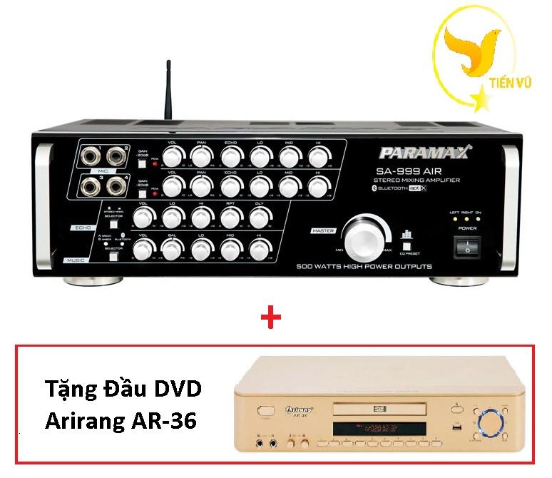 [HCM][Trả góp 0%]Amply PARAMAX SA-999 AIR NEW + Tặng Đầu DVD Arirang AR-36