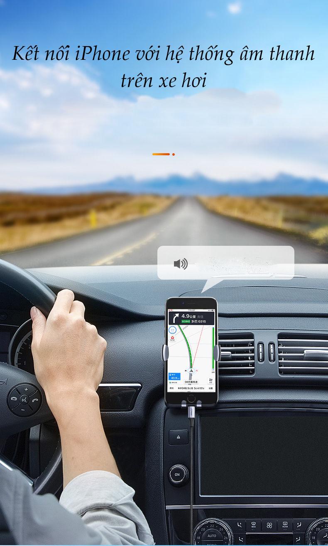 Dây chuyển đổi cổng Lightning sang chuẩn giắc 3.5mm cho phép kết nối iPhone với các thiết bị âm thanh như: loa, tai nghe ... vỏ bện dài 1m UGREEN US315