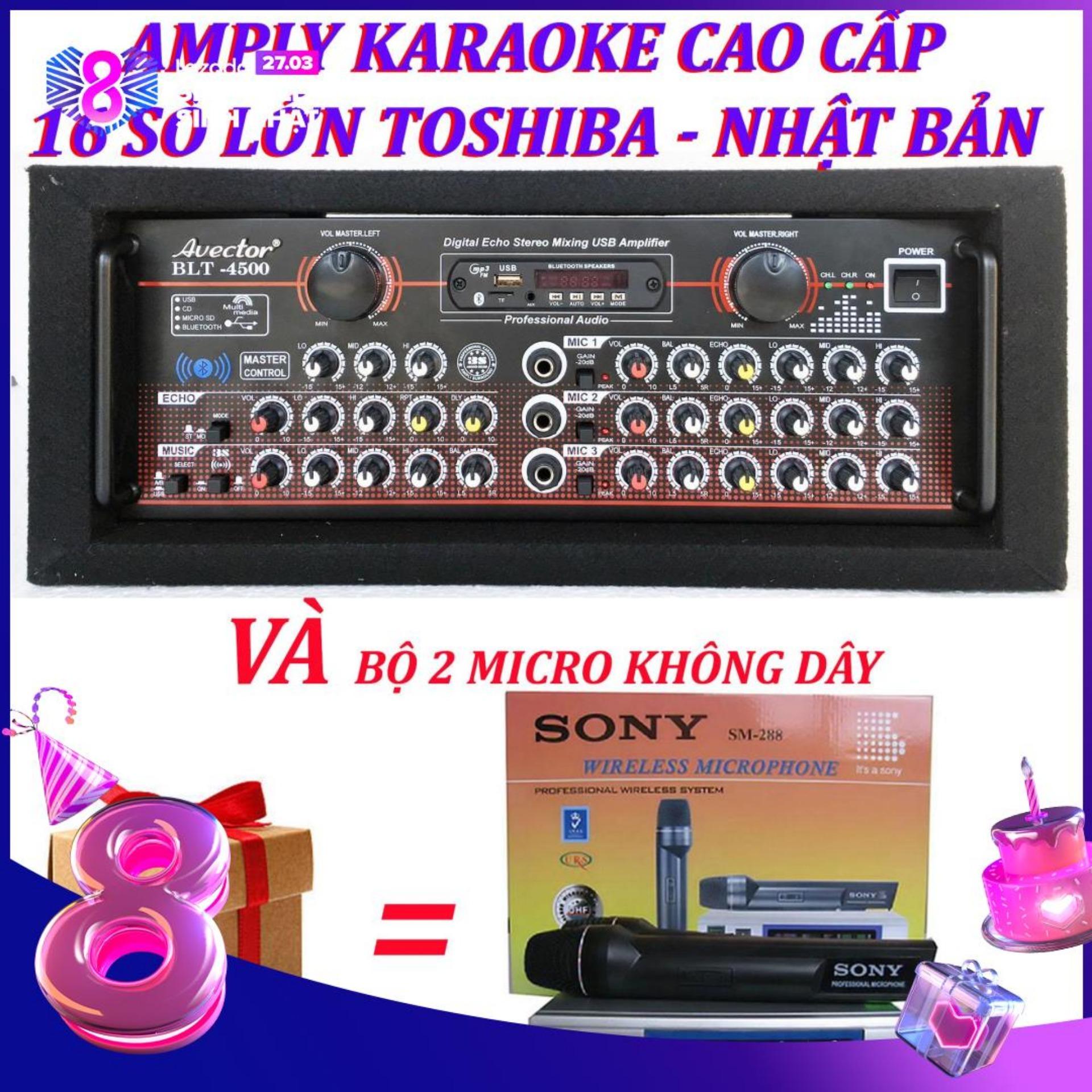 Amply karaoke ampli bluetooth amply nghe nhac amply karaoke hay cao cấp avector 4500 VÀ bộ micro không dây sm288