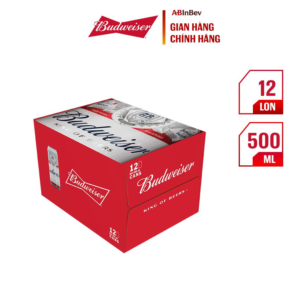 Thùng 12 Lon Bia Budweiser Chính Hãng (500ml/lon)