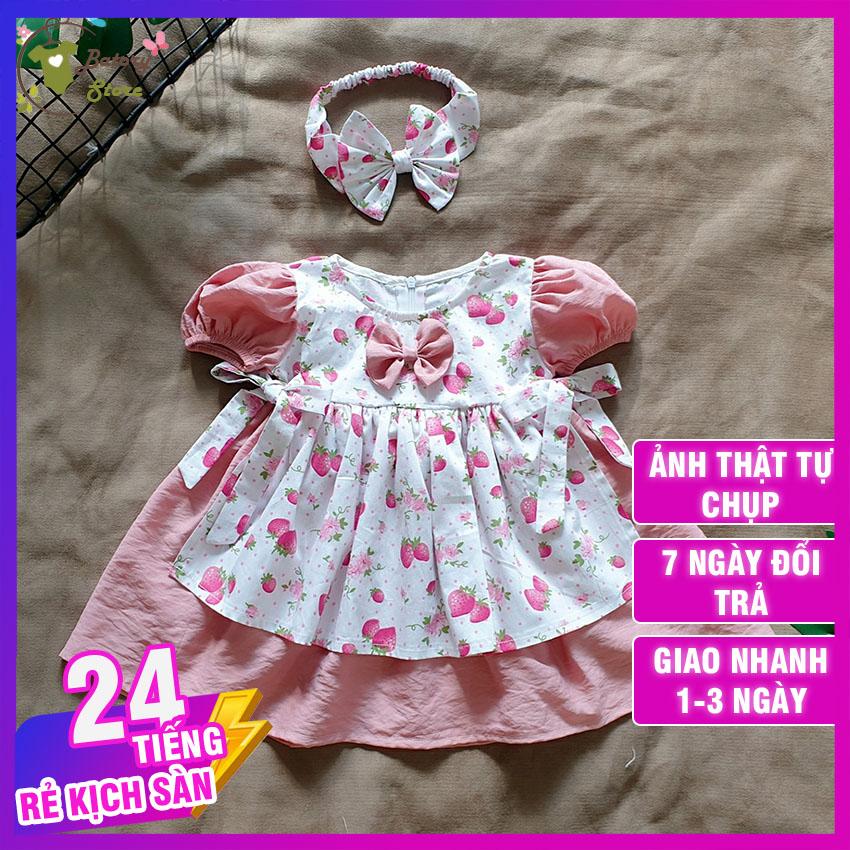 Hình ảnh Đầm công chúa cho bé, đầm hồng phối trắng họa tiết quả dâu - Chất liệu siêu mềm mát và an toàn cho bé - TẶNG KÈM TURBAN - BATORY Store
