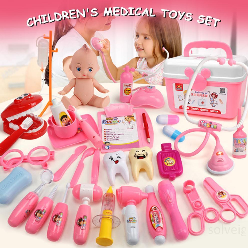 Hình ảnh Kids Doctor Kit 31 Pieces Giả vờ Bộ dụng cụ y tế nha sĩ với ống nghe điện tử và áo khoác cho trẻ em Quà tặng kỳ nghỉ, Lớp học ở trường và Trang phục bác sĩ Roleplay Dress-UpbIjFBfEi