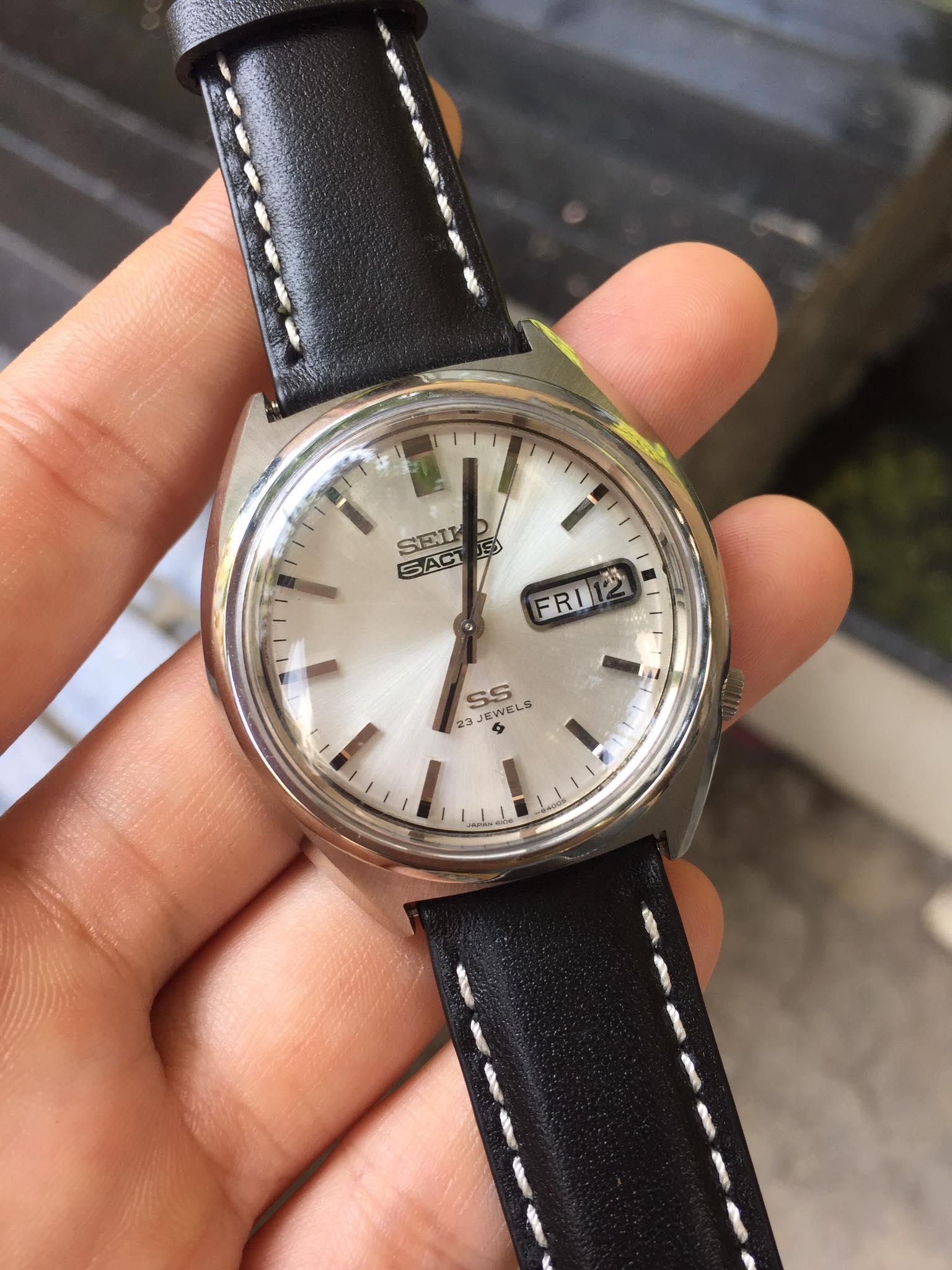 [HCM]Đồng hồ nam Seiko 5Actus SS 23 Jewels mặt trắng có ô cửa lịch dây da màu đen