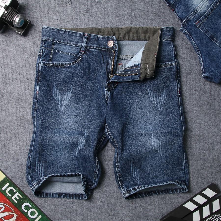 [HCM]Quần short jean nam xanh đen vải dày xước đẹp SG413 Saosaigon  quần short nam  quần nam