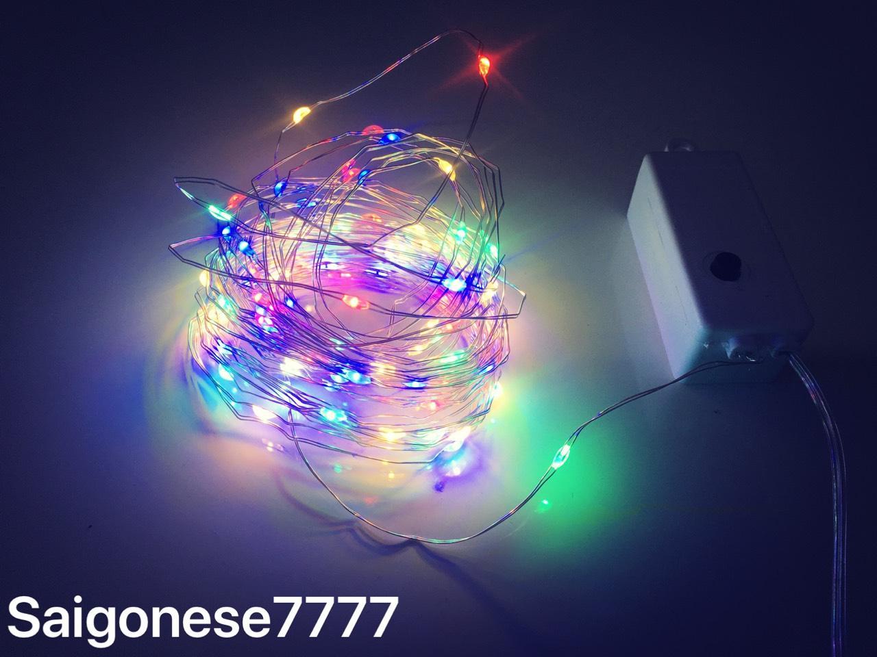 1 dây Đèn Led Đom Đóm Chipsbling Fairy Light 100 bóng đèn led nhiều màu dài  10m xài điện