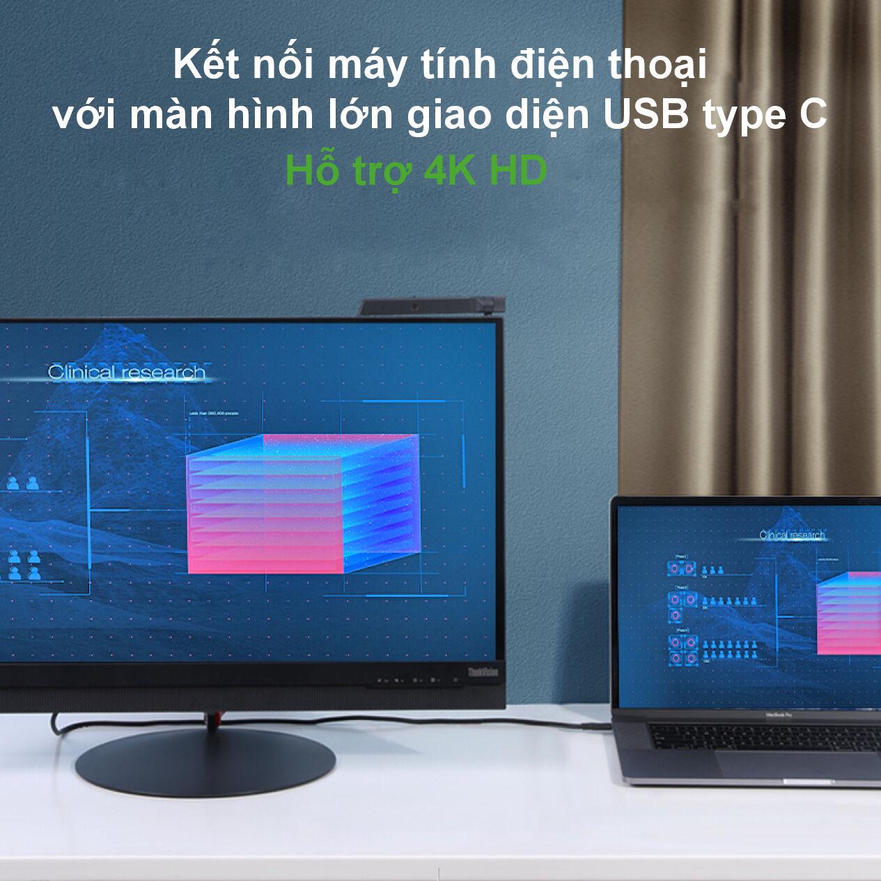 Cáp sạc nhanh 2 đầu USB type C 3.1 hỗ trợ PD100W, dòng 5A, tốc độ truyền dữ liệu 10Gpbs, độ phân giải 4K 60HZ Video Output dài 1m UGREEN US266 50232