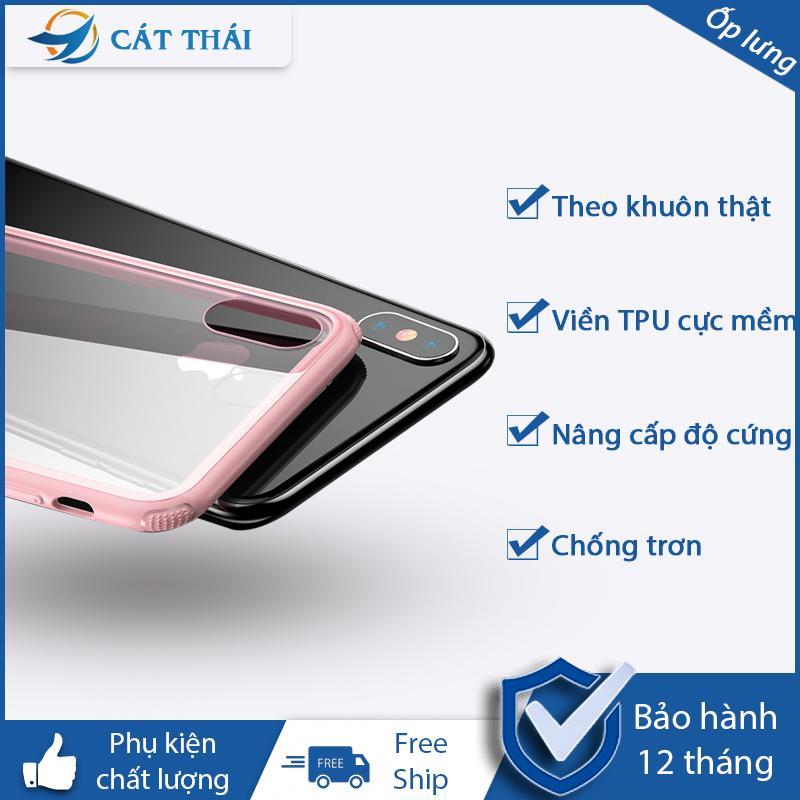 Vỏ điện thoại Ốp lưng nhựa cứng trong suốt viền màu độ cứng 9H thiết kế chống trơn được làm theo khuôn máy thật dành cho các bạn sử dụng iphone XR / iphone XS Max