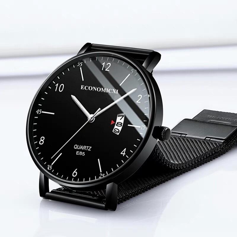 Đồng hồ nam đeo tay dây thép lụa đen ECONOMICXI chạy lịch ngày cao cấp - Đẳng Cấp Phái Mạnh ECI099 thumbnail