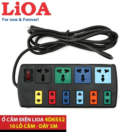 Ổ cắm có dây / Ổ cắm điện an toàn / Ổ cắm điện đa năng / Ổ cắm điện Lioa ( 4 - 6 - 10 ổ cắm ) dây 5m và 3m Lioa