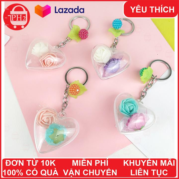 Hình ảnh Móc khóa trái tim bông hồng bằng nhựa cực đẹp ✓ móc khóa cute ✓ móc khóa xe dễ thương ✓ móc chìa khóa xe, túi sách, balo đều hợp✓móc khóa cặp đi học✓ Phát Huy Hoàng