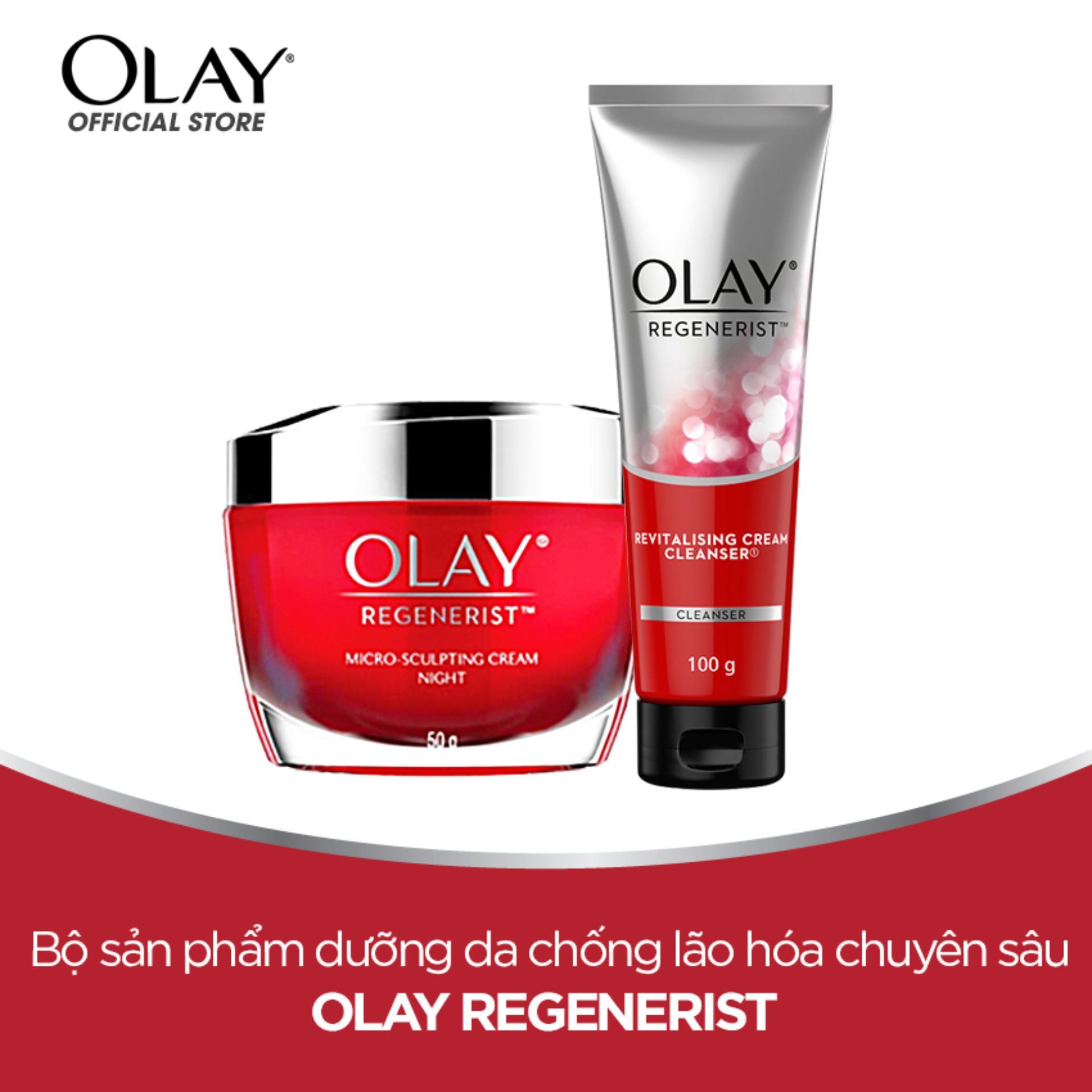 Bộ 2 sản phẩm Tái Tạo Da Lão Hóa Olay Regenerist: Kem dưỡng da ban đêm 50g + Sữa rửa mặt dạng kem 100g