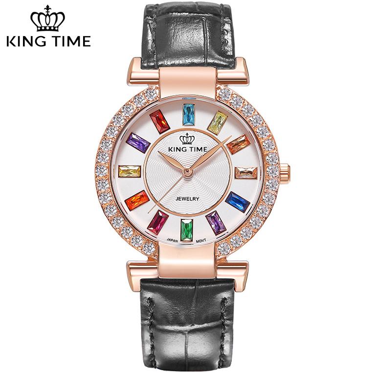 Đồng hồ nữ KING TIME Đính Đá Ruby Cầu Vòng, Mặt to nổi bật, Chống nước sinh hoạt 9