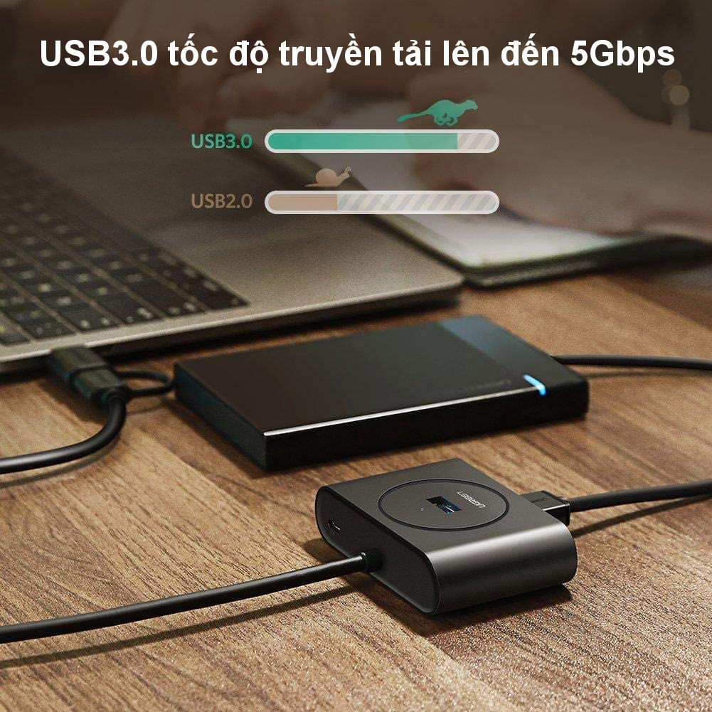 Bộ chia cổng USB 3.0 / USB type C sang 4 cổng USB 3.0 dài 1m UGREEN 40850