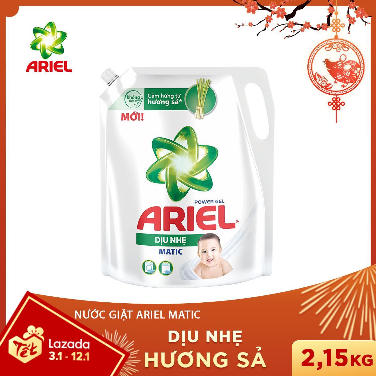 Nước Giặt Ariel Dịu Nhẹ Hương Sả Dạng Túi 2.15KG