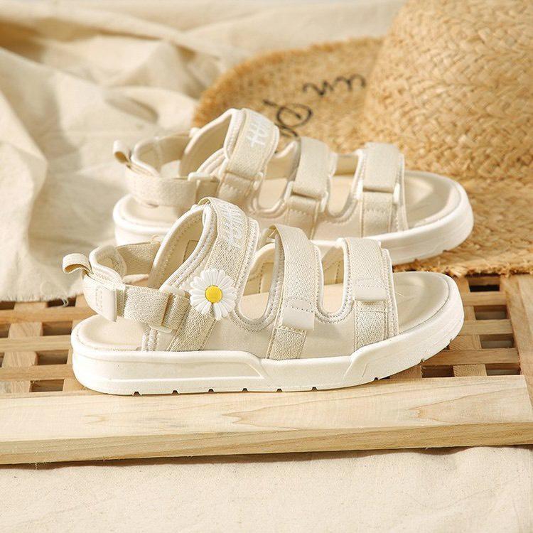 (2 MÀU) Sandal nữ thời trang Ulzzang quai vải chữ ký hoa cúc 2 màu Đen Kem trẻ trung thumbnail