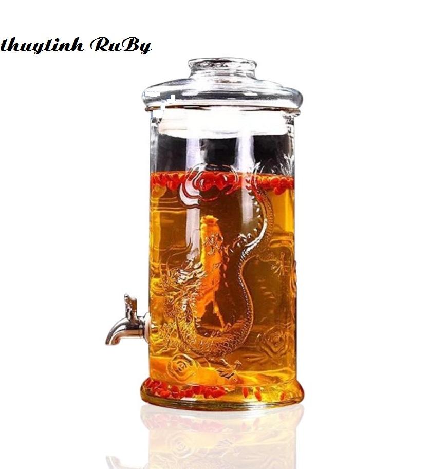 Bình Ngâm Rượu Thủy Tinh 6 Lít (Có Vòi, Không Đế) Trụ Rồng, Bình Đựng Rượu Thủy tinh, Hủ thủy tinh ngâm rượu, Bình ngâm Sâm