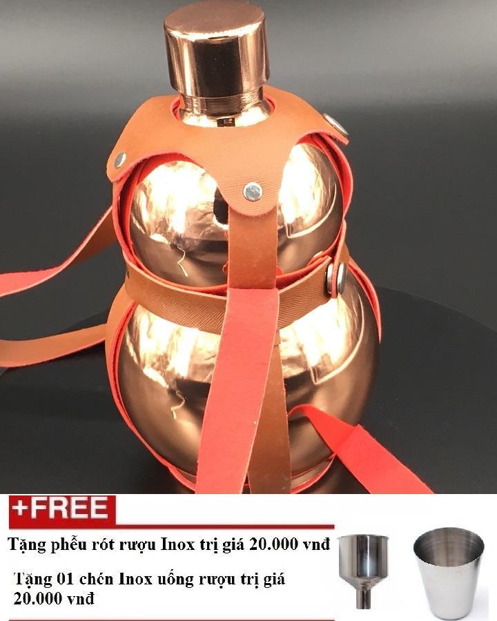 Bình Rươu Hồ Lô Inox 2L sáng bóng Có Bao Da shopaha247 tặng kèm phễu + chén (màu đồng, vàng, màu than bóng)